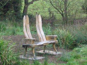 Carved oak bench