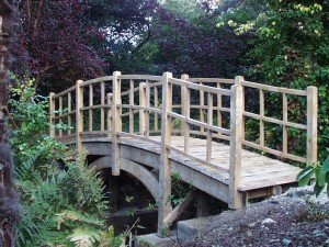 Traditional Japanese style formal oak bridge