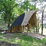 Lakeside oak gazebo or belvedere with 6 seats, Ribble Vally, Lancashire