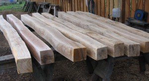 8 green oak purlins