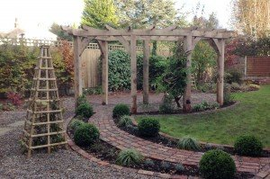 Garden Pergola, designed by Sharon Hockenhull; materials supplied by Altham Oak