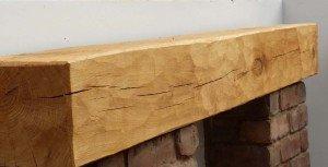 Band sawn oak fireplace beam